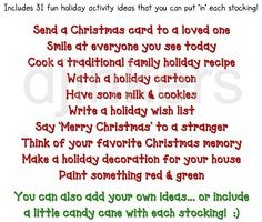 31 holiday activity ideas, stocking advent calendar, holiday fun, christmas fun