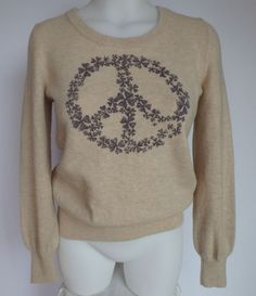 Women's Lucky Brand Lightweight Wool Sweater Size Small S Peace Sign Tan Gray #LuckyBrand #Crewneck