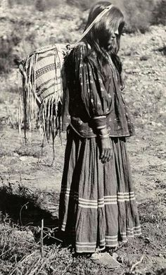 Ki you eh, White Mountain Apache woman. Photographed at Cedar Creek; Fort Apache Reservation (White Mountain Reservation); Gila County; Arizona. Date 1919.