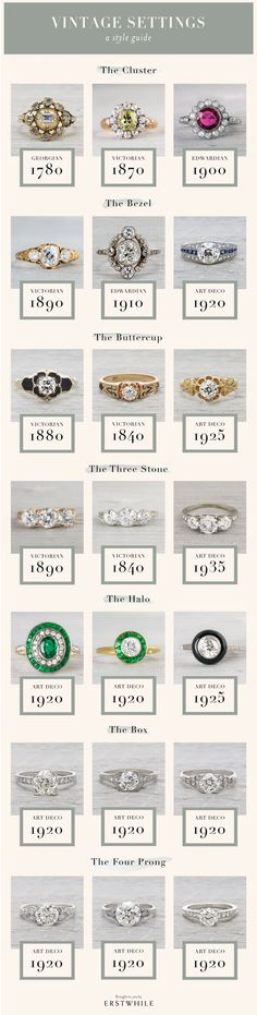 The buttercup, Art Deco 1925 wow & I & & The post Vintage engagement ring settings guide. The buttercup, Art Deco 1925 wow & appeared first on Wedding. Wedding Rings Vintage, Vintage Engagement Rings, Wedding Engagement, Wedding Bands, 1920s Wedding, Ruby Wedding, Engagement Ideas, Wedding Art, Wedding Jewelry