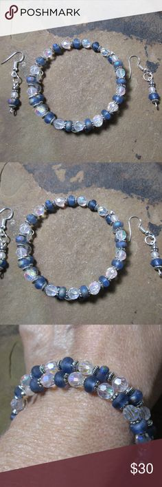 Blue frosted glass & ab crystal bracelet & earring Blue frosted glass & ab faceted crystal bracelet & earring set. Hand made these have a great beachy vibe.  Bali bead spacers,  strung on memory wire to fit any size wrist. Silver plated earring hooks, if you need nickle free let me know and I can switch them out. Hand made Jewelry