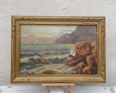 French vintage coastal oil painting, original vintage painting, original French art, shabby chic oil painting, country home, seascape art…