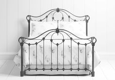 Alva Iron/Metal Bed Frame hand made by The Original Bed Co. Available in a Satin Black, Glossy Ivory or a Satin White finish.