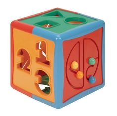 Battat Shape Sorter Cube by Battat. $11.00. For hours of imaginative fun. Great activity toy. Plus a bead maze. There are 3 numbers, 3 letters and 6 shapes. This colorful cube 6 sides of fun. From the Manufacturer                Learn to sort shapes and colors with this shape sorter cube. This colorful cube 6 sides of fun. There are 3 numbers, 3 letters and 6 shapes. Plus a bead maze. For hours of imaginative fun.                                    Product Descri...
