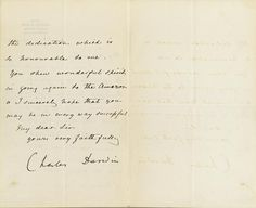 "Letter Signed (""Charles Darwin""), 2 pp recto and verso, 8vo, Kent, June 19, 1876, to James Orton, thanking him for a copy of Orton's book, the text in the hand of Darwin's wife Emma, on Beckenham, Kent Railway Station stationery."