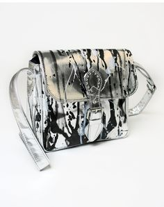 Motel Saddle Satchel in Silver Splash Print http://www.motelrocks.com/shop/products/Motel-Saddle-Satchel-in-Silver-Splash-Print.html #print #bag #motelrocks #saddle #satchel #silver #vintage #retro #moleskin #black