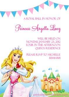 Disney Princess Aurora Sleeping Beauty Invitation