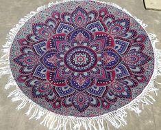 Round Mandala Indian Hippie Boho Tapestry Beach Picnic Throw Towel Mat Blanket #Handmade #ArtDecoStyle Tapestry Beach, Beach Picnic, Art Deco Fashion, Hippie Boho, Beach Mat, Mandala, Outdoor Blanket, Towel, Indian