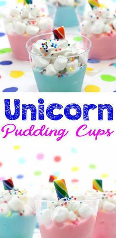 Unicorn pudding cups that are super easy and fun to make. Great DIY unicorn party food – treat, dessert, snack or party favors. With just a few simple ingredients you can whip up these Unicorn pudding cups in under 5 minutes. Pudding Desserts, Pudding Cups, Pudding Recipe, Diy Unicorn Birthday Party, Birthday Treats, Kids Birthday Favors, 4th Birthday, Paris Birthday, Birthday Celebration