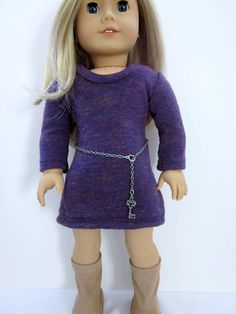 Sweater dress in plum tweed knit with chain belt by HannahsDressUp