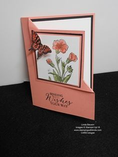 Corner Fold Card Linda Bauwin - CARD-iologist Helping you create cards from the heart. Video tutorial.