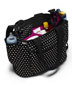 Another great find on #zulily! Black & White Mini Dot Go-Go Diaper Tote #zulilyfinds