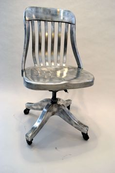 Exquisite Polished Aluminum Desk Chair USA 1940's #midcentury #metal #furniture