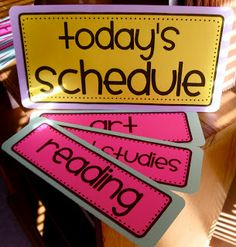 Daily Schedule Cards.  Easier to print onto cardstock...