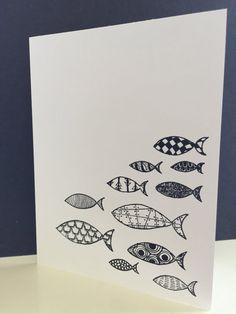 Zentangle Fish CardBlank by HelixTangles on Etsy