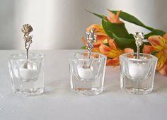 Vintage Salt Cellars Salt Holder Salt Vessel Set of Three Glass Salt Containers…