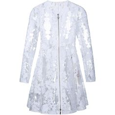 Moncler Clear Pu Floral Lace Coat (17,440 SAR) ❤ liked on Polyvore featuring outerwear, coats, white, zip coat, floral coat, a line coat, moncler coats and lace coat