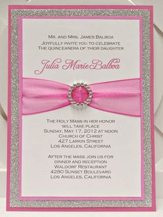 Custom Handmade Pink & Silver Glitter Sweet Sixteen (16) Quinceanera Invitations with Pocket. $3.95, via Etsy. by olga.sirbu