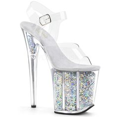 Hot For Heels And More - Pleaser Clear And Silver Multi Glitter - Ankle strap sandal with holographic glitter filled platform. Platform Stilettos, Stiletto Heels, High Heels, Platform Shoe, Sexy Heels, Ankle Straps, Ankle Strap Sandals, Plateau Heels, Silver Glitter Heels