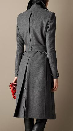 Wool Cashmere Melton Military Coat in Dark Grey Melange | Burberry