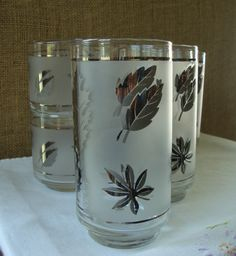 8 VINTAGE FROSTED FOLIAGE Glasses   by Libby   Mid Century Glassware