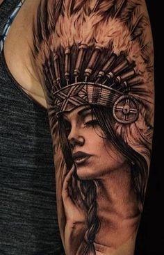 3D Indian Chief Dziewczyna tatuaż na lewej połowie Sleeve
