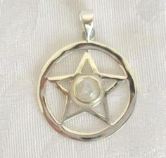 Ciondolo in Argento con Pentagramma e Pietra di Luna