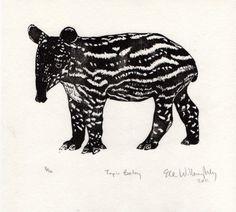 Tapir Baby Linocut by minouette on Etsy, $25.00