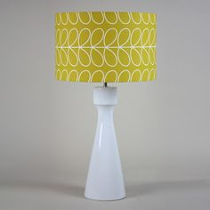 Handmade 35cm Drum - Orla Kiely, 'Linear stem dandelion', white lining. Available in store or online here - https://www.cotterellandco.com/hapton-table-lamp-with-shade-options