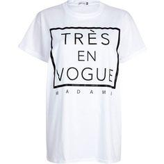 newest 00751 15527 White tres en vogue madame oversized t-shirt - print t-shirts   vests - t  shirts   vests   sweats - women