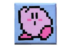 Kirby's Dreamland 8 bit pixel painting on canvas #nintendo #gameboy #wii #ds