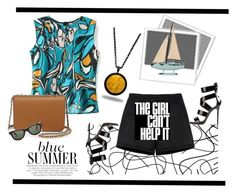 Blue Summer by jazzyk61 on Polyvore featuring polyvore, fashion, style, Cartise, Neil Barrett, Giuseppe Zanotti, Tory Burch, Marlin Birna, Ray-Ban, prints, pendants and strappysandles