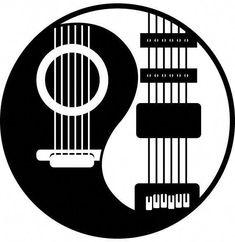 Yin-Yang: A clockwise taijitsu wither the dot elements interpreted as guitar strings and frets, imploring one to find balance in their life and in the music you make. Ying Y Yang, Yin Yang Art, Music Tattoo Designs, Music Tattoos, Guitar Art, Music Guitar, Tatoo Musical, Yin Yang Tattoos, Music Drawings