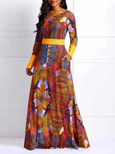 Zipper Long Sleeve Geometric Womens Maxi Dress We carry a wide array of the hottest styles of tops, bottoms, dresses, jewelry, and accessories. African Fashion Dresses, African Dress, Dress Fashion, African Clothes, African Attire, African Wear, Women's Fashion, Geometric Sleeve, Ankara Dress