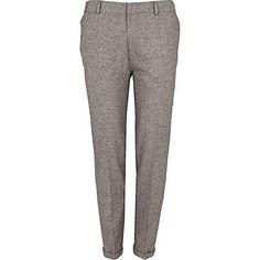 Grey fleck smart skinny ankle grazer trousers - smart trousers - trousers - men
