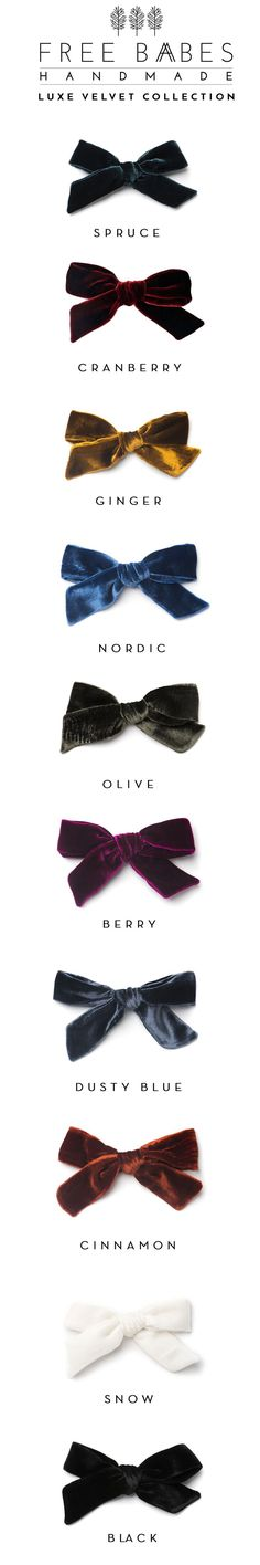 The Luxe Velvet Collection by Free Babes Handmade. Available in 10 beautiful colors. // Classic bows for your little girls Christmas Eve style! Attached to a right-sided alligator clip.