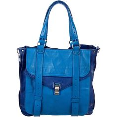 Pre-owned Proenza Schouler Two-Tone PS1 Tote ($495) ❤ liked on Polyvore featuring bags, handbags, tote bags, blue, blue leather tote bag, hand bags, leather zip tote, leather hand bags and leather totes