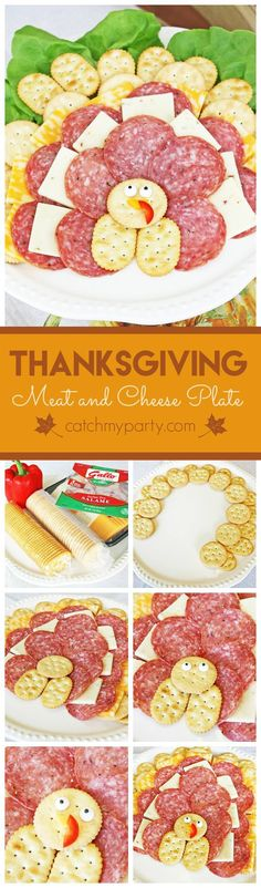 Thanksgiving meat and cheese platter that looks like a turkey! This will entertain the kids and adults at your Thanksgiving dinner! | CatchMyParty.com