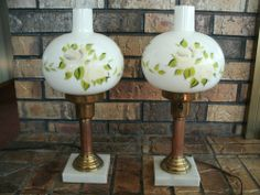 Vintage Hand Painted Glass Table Lamps Copper Stems Marble Bases Electric