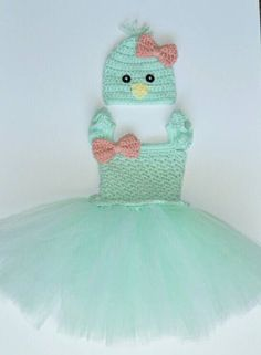 This adorable mint chick is as soft as it is adorable. Everyones eyes will be on your little princess as she hunts for eggs in this adorable outfit. The dress is hand-crocheted in a soft mint with ruffled straps, and scalloped waist. The bottom of the dress is mint and white tulle. Want this set in another color? Contact me for availability. It is handmade from soft 100% acrylic yarn in a clean, smoke-free environment.