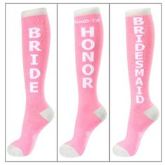 Wedding Party Gift Socks ~ Bridesmaid Gifts, Wedding Party Gifts. Super fun bright pink knee highs trimmed in silver sparkle 4 the bride, maid of honor & bridesmaids.