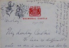 A letter, with hand-drawn illustrations, sent to Lady Caroline Paget by Rex Whistler, whilst he was staying with King George VI and Queen Elizabeth at Balmoral.