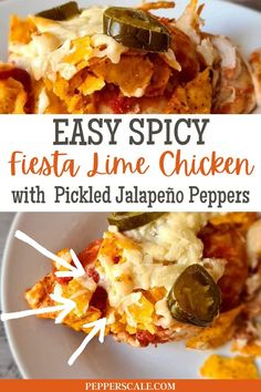 Easy Spicy Fiesta Lime Chicken with Pickled Jalapeno Peppers! Spicy fiesta lime chicken is a delicious Mexican-inspired dish — with just a little spice and lots of zing! Pickled jalapeño peppers provide a bit of both, along with piri-piri seasoning, fresh lime juice, and lime zest. And then there's the crunchy. Those tortilla chips give this recipe a little bit of crunchy fun in each bite. Chipotle Recipes, Mexican Food Recipes, Ethnic Recipes, Pickled Jalapeno Peppers, Stuffed Jalapeno Peppers, Fiesta Lime Chicken, Spicy Steak, Fresh Lime Juice, Casserole Dishes