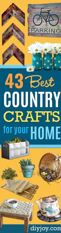 DIY Rustic Country Crafts For The Home - Cool and Easy DIY Craft Projects for Home Decor, Dollar Store Gifts, Furniture and Kitchen Accessories - Creative Wall Art Ideas, Rustic and Farmhouse Looks, Shabby Chic and Vintage Decor To Make and Sell via @diyjoycrafts Diy Craft Projects, Easy Diy Crafts, Decor Crafts, Home Crafts, Crochet Projects, Pallet Projects, Diy Home Decor Living Room, Easy Home Decor, Bedroom Decor