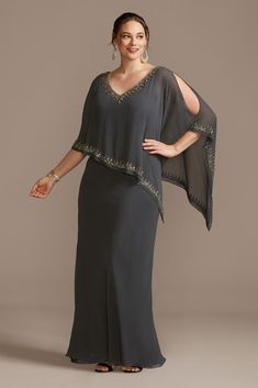 This elegant plus-size sheath dress is topped with an asymmetrical, bead-trimmed capelet. By JKara Polyester Pullover styling; fully lined Spot clean Imported Mother Of The Bride Plus Size, Mother Of The Bride Suits, Floral Plus Size Dresses, Plus Size Formal Dresses, Mob Dresses, Necklines For Dresses, Sheath Dresses, Dress To Hide Belly, Mother Of Groom Outfits