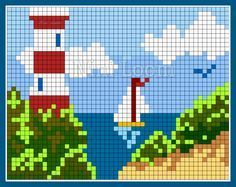 Lighthouse pattern / chart for cross stitch, knitting, knotting, beading, weaving, pixel art, and other crafting projects.