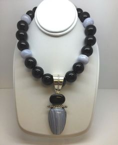 STERLING SILVER JAY KING NATURAL STONE NECKLACE BLACK ONYX LACE AGATE MINE FINDS #JayKing