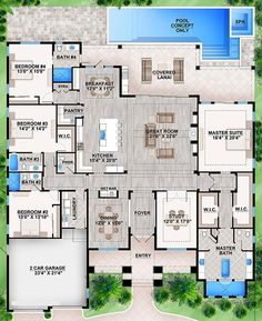 Love master suite and bathroom! Could take off room n ° 4 to make the plan more … - Home & DIY Floor Plan 4 Bedroom, 4 Bedroom House Plans, Family House Plans, New House Plans, Dream House Plans, Modern House Plans, Dream Houses, Florida House Plans, Pool House Plans