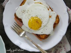 Curly Girl Kitchen: Breakfast for Two - Croque Monsieur and Croque Madame with light Bechamel sauce