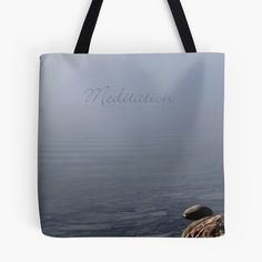 "Meditation (with ""Meditation"" text) / Tote Bag Featuring Contemplative Waterscape Scene by PhotoClique on Etsy"